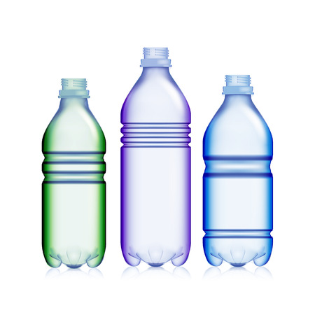 cooler boxes: Empty Transparent Bottle. Set Realistic Blank Plastic Red, Blue And Green Soda . Mock Up For Your Design. Vector Template Background