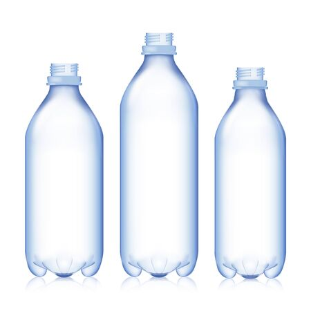distilled water: Empty Bottle. Set Realistic Blank Plastic Blue Water. Mock Up For Your Design. Vector Template Background