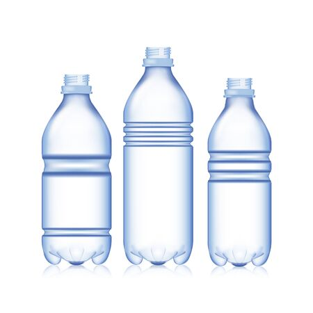 cooler boxes: Empty Bottle. Set Realistic Blank Plastic Blue Water. Mock Up For Your Design. Vector Template Background
