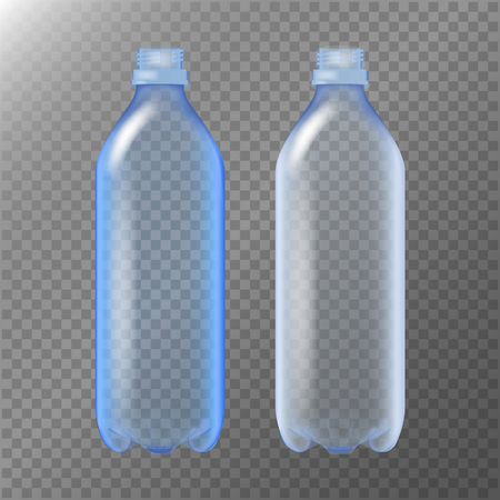cooler boxes: Empty Transparent Bottle. Set Realistic Blank Plastic Blue Water . Mock Up For Your Design. Vector Template Background
