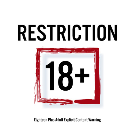 restricted area sign: Restriction 18 . Red Rectangle. Eighteen Stop Sign. Content For Adults Only. Illustration