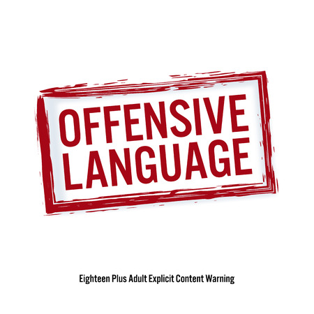 offensive: Offencive Language. Red Stop Sign. Age Restriction Stamp. Content For Adults Only. Illustration
