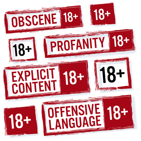 obscene: Set Of Red Rectangular Stamps Adults Only 18 . Grungy Icons Age 18 Limit. Isolated On White Background.