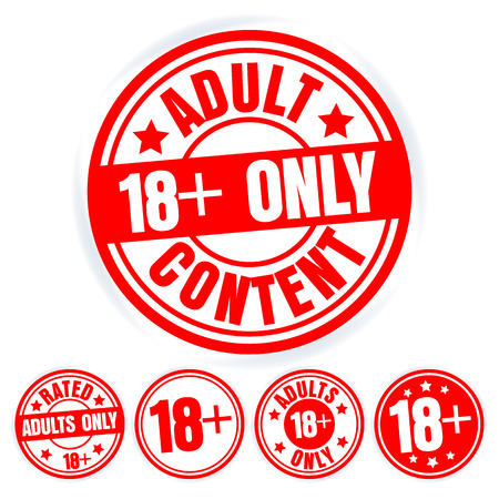Set Of Red Round Stamps Adults Only. Grungy Icons Age 18 Limit. Isolated On White Background