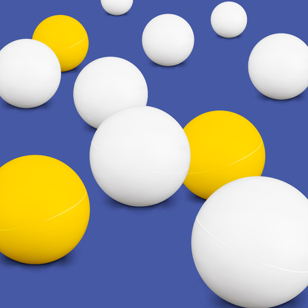 Table tennis Balls. White And Yellow 3d Green Ball With Shadow On Blue Background.