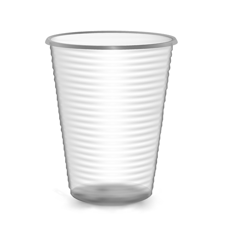 glasse: Plastic Cup. Isolated On White Background. Mock Up For Your Design. Photo Realistic Vector Illustration