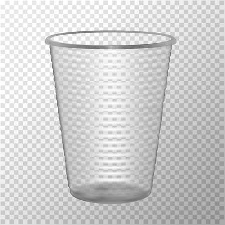 Transparent Plastic Cup. Mock Up For Your Design. Photo Realistic Vector Illustration