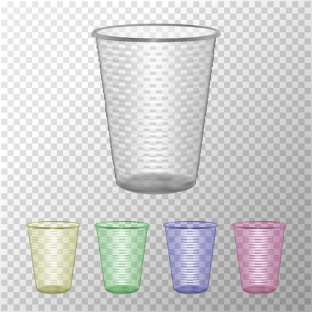 Juego de vasos de plástico transparente. Mock Up para su diseño. Foto ilustración vectorial realista Ilustración de vector
