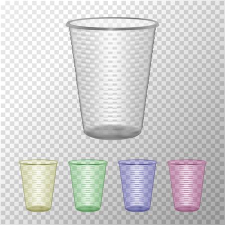 Transparent Plastic Cup Set. Mock Up For Your Design. Photo Realistic Vector Illustration Vektoros illusztráció