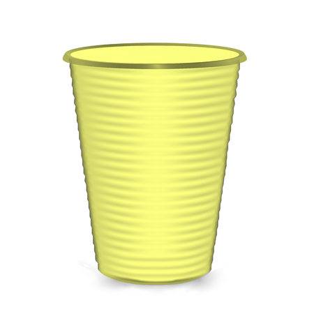 glasse: Plastic Cup. Yellow Colour. Isolated On White Background. Mock Up For Your Design. Vector Illustration
