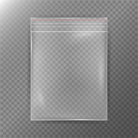 La bolsa de plástico transparente. La realidad de fondo Icono de nylon. Sellada vacía transparente de la cremallera del bolso de primer plano. Claro Plantilla Hasta Mock para su diseño. Ilustración del vector