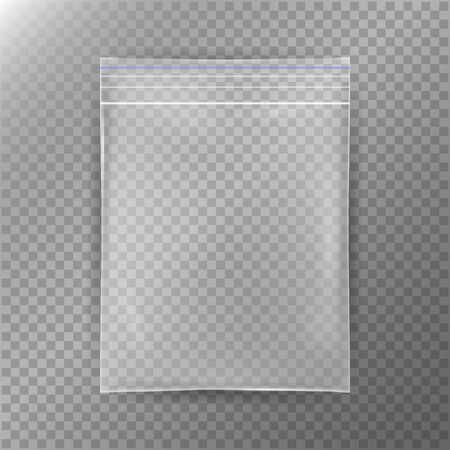 Transparent Plastic Bag. Reality Nylon Icon Background. Sealed Empty Transparent Zipper Bag Close Up. Clear Mock Up Template For Your Design. Vector Illustration