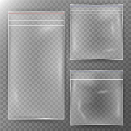 sachet: Transparent Plastic Bag. Set Reality Nylon Icon Background. Sealed Empty Transparent Zipper Bag Close Up. Mock Up Template For Your Design. Vector Illustration