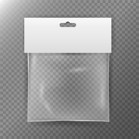 plastic bag: Transparent Plastic Bag. Reality Nylon Icon Background. Sealed Empty Transparent Bag Close Up. White Blank With Hang Slot. Mock Up Template For Your Design. Vector Illustration