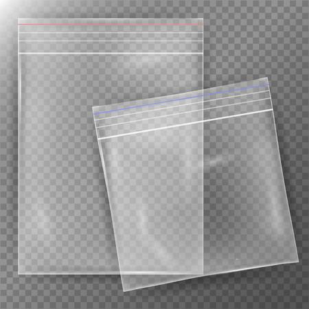Transparent Plastic Bag. Set Reality Nylon Icon Background. Sealed Empty Transparent Zipper Bag Close Up. Mock Up Template For Your Design. Vector Illustration