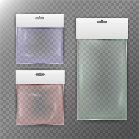 Transparent Plastic Bag. Colorful Reality Nylon Icon Background. Sealed Empty Transparent Bag Close Up. White Blank With Hang Slot. Mock Up Template For Your Design. Vector Illustration