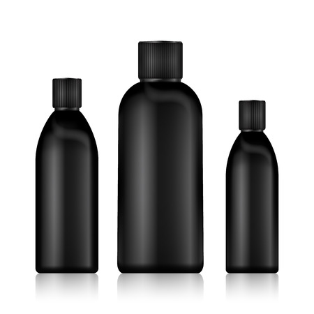 Cosmetic Bottles. Realistic Black Bottle For Essential Oil And Tube Or Container For Cream, Ointment, Lotion. Mock Up set. Cosmetic Vial, Flask, Dropper-Bottle, Shampoo. Vector Illustration. 向量圖像