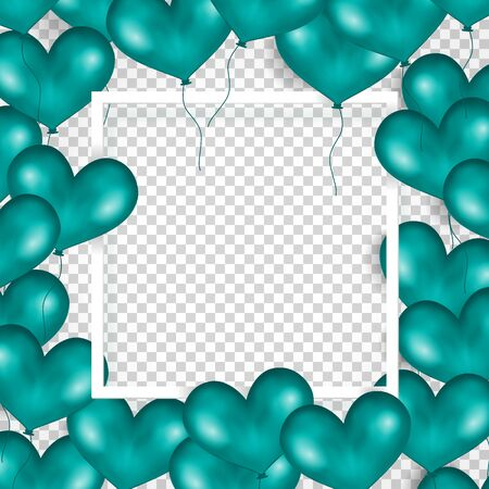 anniversary sale: Frame With Turquoise Balloons In Form Of Heart. Transparent Background. Place For Text. Good For Wedding, Anniversary, Birthday, Valentine s Day, Party Invitations, Scrapbooking. Vector Illustration Illustration