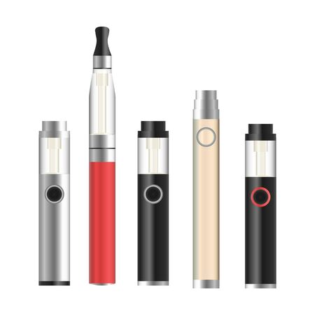 vaporized: Vape Pen. Electronic Cigarette Set. Colorful Vector E-cigarette Pen Isolated On White Background. Illustration.