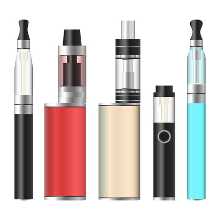 vaporized: Vape Box. Electronic Cigarette Set. Colorful Vaporize Box Isolated On White Background. Vector Illustration. Illustration