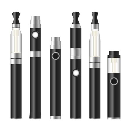 Vape Pen. Electronic Cigarette Set. Colorful Vector E-cigarette Pen Isolated On White Background. Illustration.