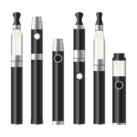 Vape Pen. Electronic Cigarette Set. Colorful Vector E-cigarette Pen Isolated On White Background. Illustration.