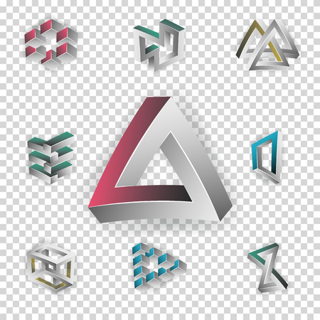unreal: Impossible Shapes Set. Transparence Background. Colorful Trendy Creative Figures With Optical Illusion. Paradox Elements. Unreal Geometrical Symbols In A Surreal Style. Vector Illustration