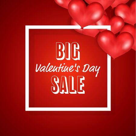 14th: Big Valentine s Day Sale Banner Template. Good For Poster. Vector Illustration. Illustration
