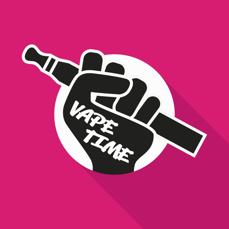 vaporize: Vape Icon. Hand Holding E-cigarette. Vaping Symbol On Bright Background. Vaporize Pen Device In A Hand. Vector Illustration.