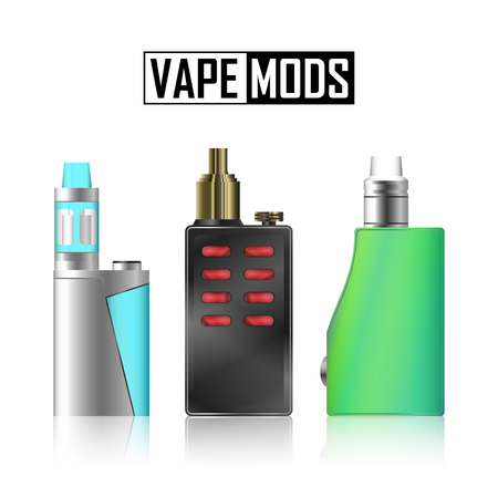 vaporized: Vape Mod Set. Electronic Cigarette With Juice. Colorful Vector Vaporize Device With Liquid Bottles On White Background. Trend New Culture. Illustration. Illustration