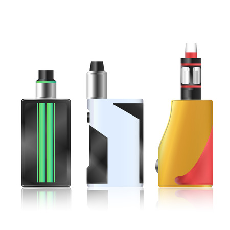 vaporize: Vape Mod Set. Electronic Cigarette With Juice. Colorful Vector Vaporize Device With Liquid Bottles On White Background. Trend New Culture. Illustration. Illustration