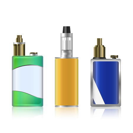 Vape Mod Set. Electronic Cigarette With Juice. Colorful Vector Vaporize Device With Liquid Bottles On White Background. Trend New Culture. Illustration. Illustration