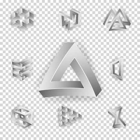 transparence: Impossible Shapes Set. Transparence Background. Trendy Creative Figures With Optical Illusion. Paradox Elements. Unreal Geometrical Symbols In A Surreal Style. Vector Illustration