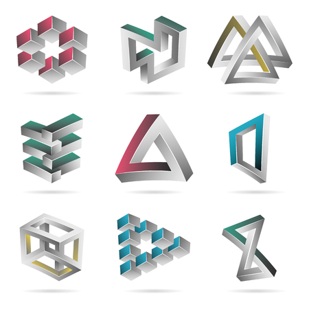 unreal: Impossible Shapes Set. Colorful Trendy Creative Figures With Optical Illusion. Paradox Elements. Unreal Geometrical Symbols In A Surreal Style. Vector Illustration Illustration