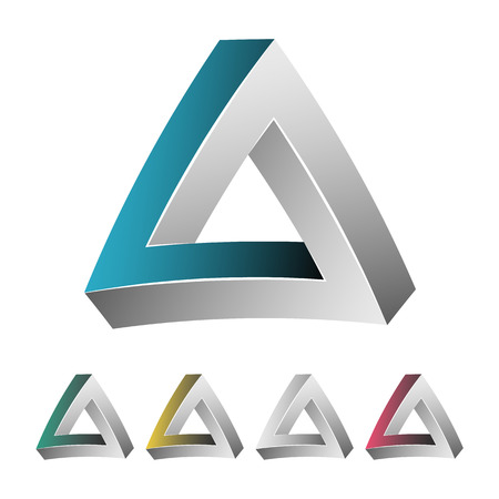 Impossible Shape. White Background. Colorful Trendy Creative Sign With Optical Illusion. Paradox Element. Unreal Geometrical Symbol In A Surreal Escher Style. Vector Illustration Illustration