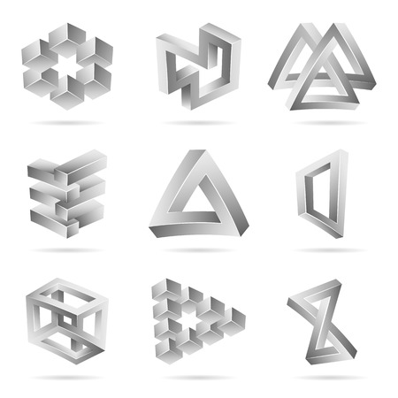 unreal: Impossible Shapes Set. Trendy Creative Figure With Optical Illusion. Paradox Elements. Unreal Geometrical Symbols In A Surreal Style. Vector Illustration