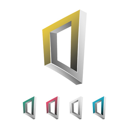 transparence: Impossible Shape. White Background. Colorful Trendy Creative Sign With Optical Illusion. Paradox Element. Unreal Geometrical Symbol In A Surreal Escher Style. Vector Illustration Illustration