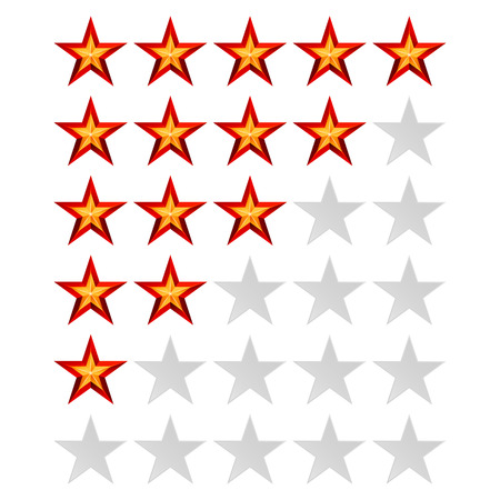 classify: Achievement Vector Stars. For Game And Review Rating. Like Symbol, Succes Sign, Classify Concept, Realistic Element. Isolated On White Background.