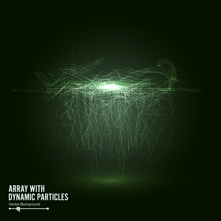 Array Vector With Splash Emitted Particles. Big Data Complex. Visualization Abstract   Swirled Stripes