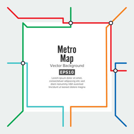 sub station: Metro Map Vector. Rapid Transit Illustration. Colorful Background With Stations