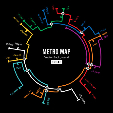 Metro Map Vector. Imaginary Underground Map. Colorful Background With Stations Ilustração