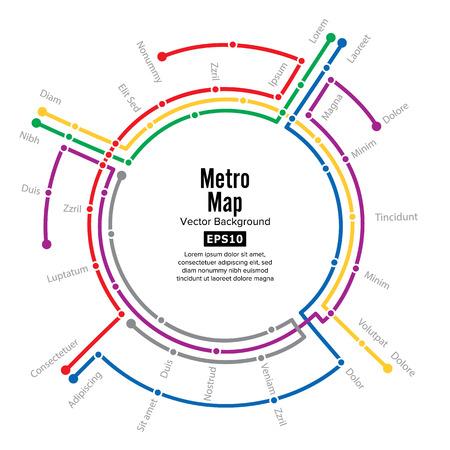 Metro Map Vector. Plan Map Station Metro And Underground Railway Metro Scheme Illustration. Colorful Background With Stations Vektoros illusztráció