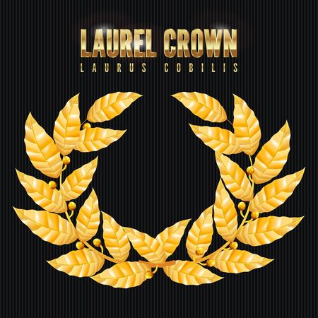 Laurel Crown. Corona Greca Con Foglie D'Oro. Illustrazione Vettoriale