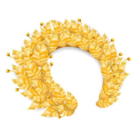 Laurel Crown. Greek Wreath With Golden Leaves. Vector Illustration