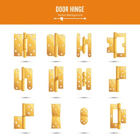 ferretería: Door Hinge Vector. Set Classic And Industrial Ironmongery Isolated On White Background. Simple Entry Door Metal Hinge Icon. Gold, Brass. Stock Illustration