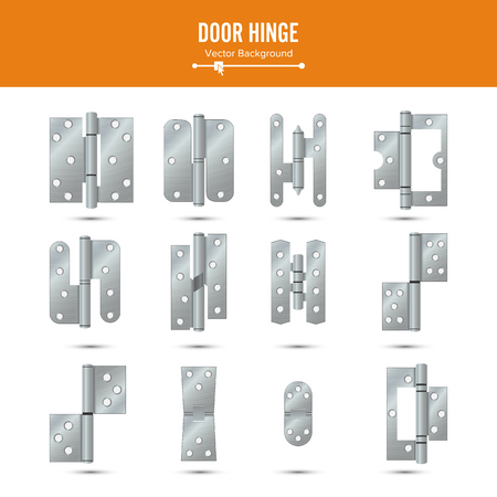 Door Hinge Vector. Set Classic And Industrial Ironmongery Isolated On White Background. Simple Entry Door Metal Hinge Icon. Stainless Steel. Stock Illustration Vectores