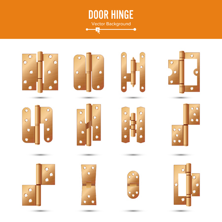 ferretería: Door Hinge Vector. Set Classic And Industrial Ironmongery Isolated On White Background. Simple Entry Door Metal Hinge Icon. Copper. Stock Illustration