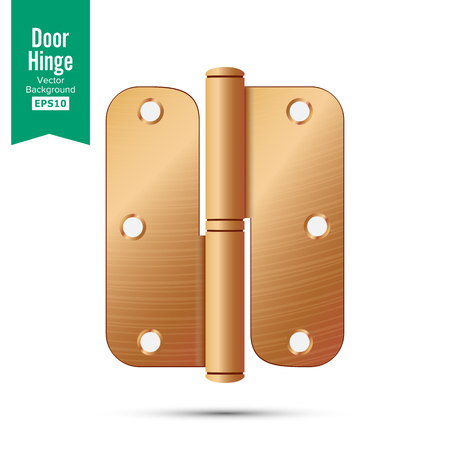 Door Hinge Vector. Classic And Industrial Ironmongery Isolated On White Background. Simple Entry Door Metal Hinge Icon. Copper, Bronze. Stock Illustration Vectores
