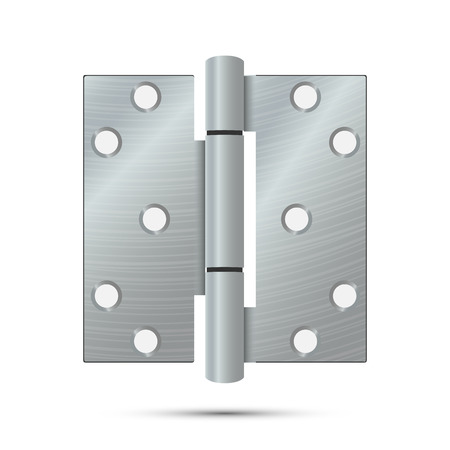Door Hinge Vector. Classic And Industrial Ironmongery Isolated On White Background. Simple Entry Door Metal Hinge Icon. Stainless Steel. Stock Illustration