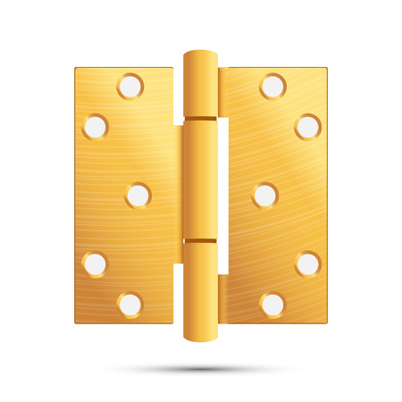 Door Hinge Vector. Classic And Industrial Ironmongery Isolated On White Background. Simple Entry Door Metal Hinge Icon. Gold, Brass. Stock Illustration Vectores